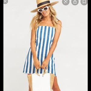 NWOT tags striped denim dress